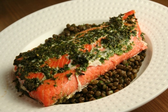 Сёмга с чечевицей(CONFIT OF SALMON WITH LENTILS)